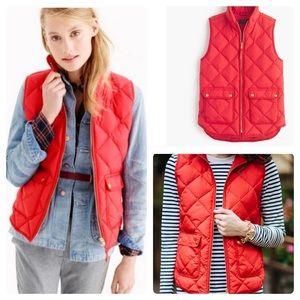 J. Crew Excursion Quilted Down Gold Zip Puff Vest